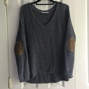 Grey Knit Sweater With Brown Elbow Patches